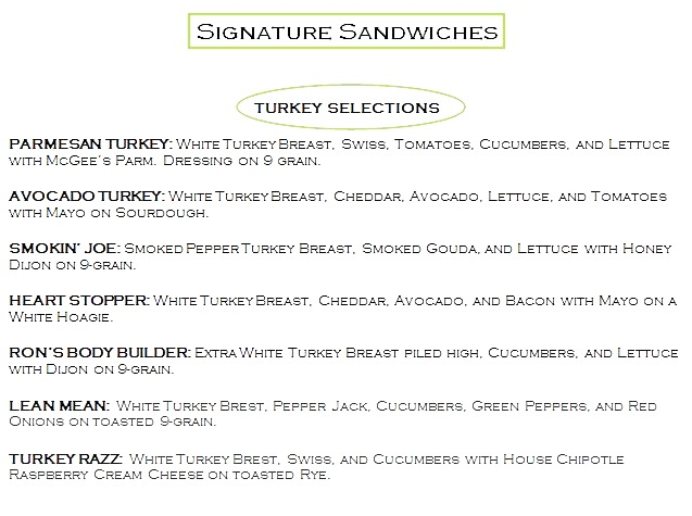 Signature Sandwiches 1